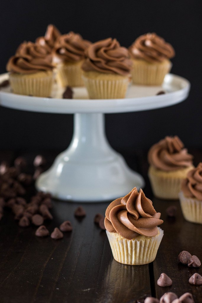 Mini Peanut Butter Cupcakes with Milk Chocolate Buttercream -- These are so good!!!!