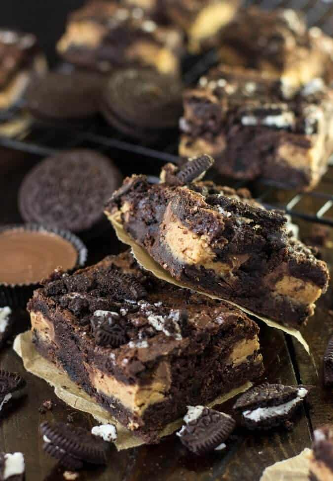 Peanut butter cup stuffed oreo brownies