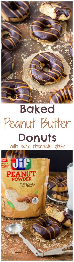 Baked Peanut Butter Donuts made with Jif Peanut Powder -- SugarSpunRun.com