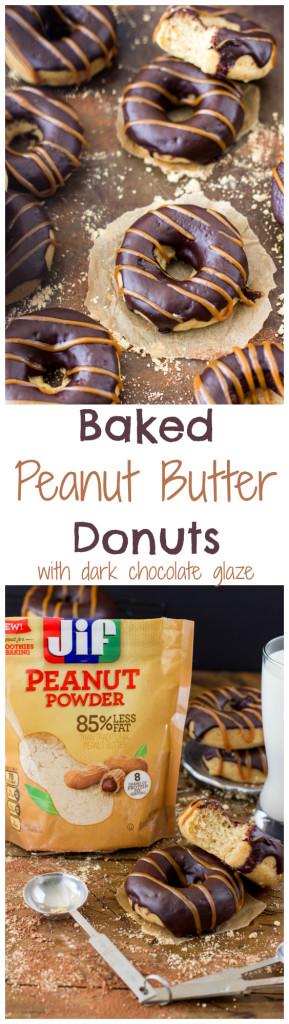 Baked Peanut Butter Donuts made with Jif Peanut Powder -- SugarSpunRun.com