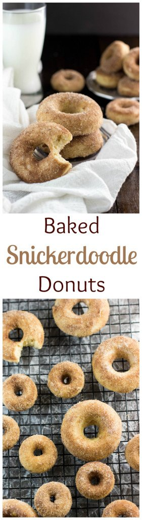 Baked (not fried!) Snickerdoodle Donuts www.SugarSpunRun.com