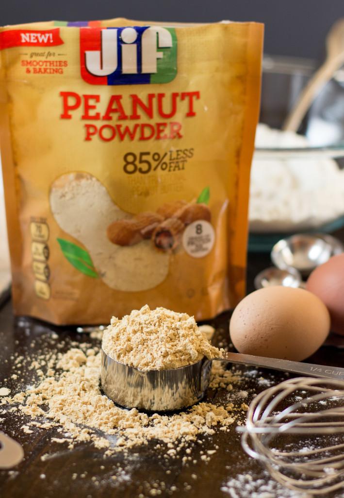 Baked Peanut Butter Donuts made with Jif Peanut Powder -- SugarSpunRun