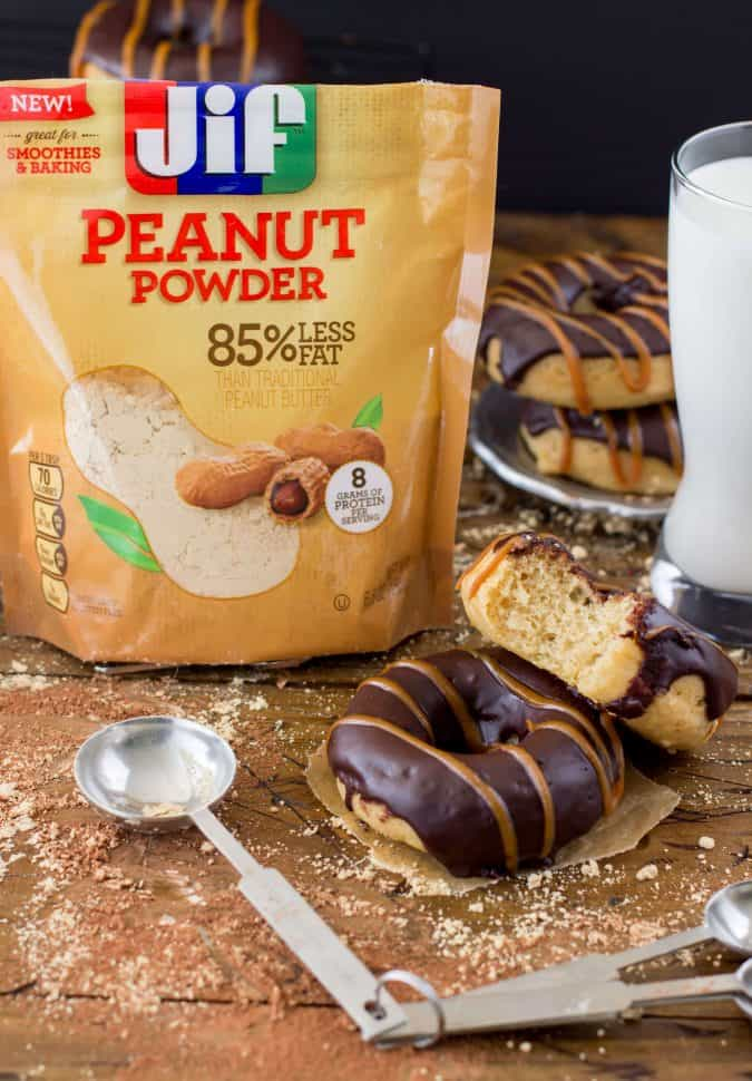 chocolate covered Peanut Butter Donuts with Jif Peanut Powder