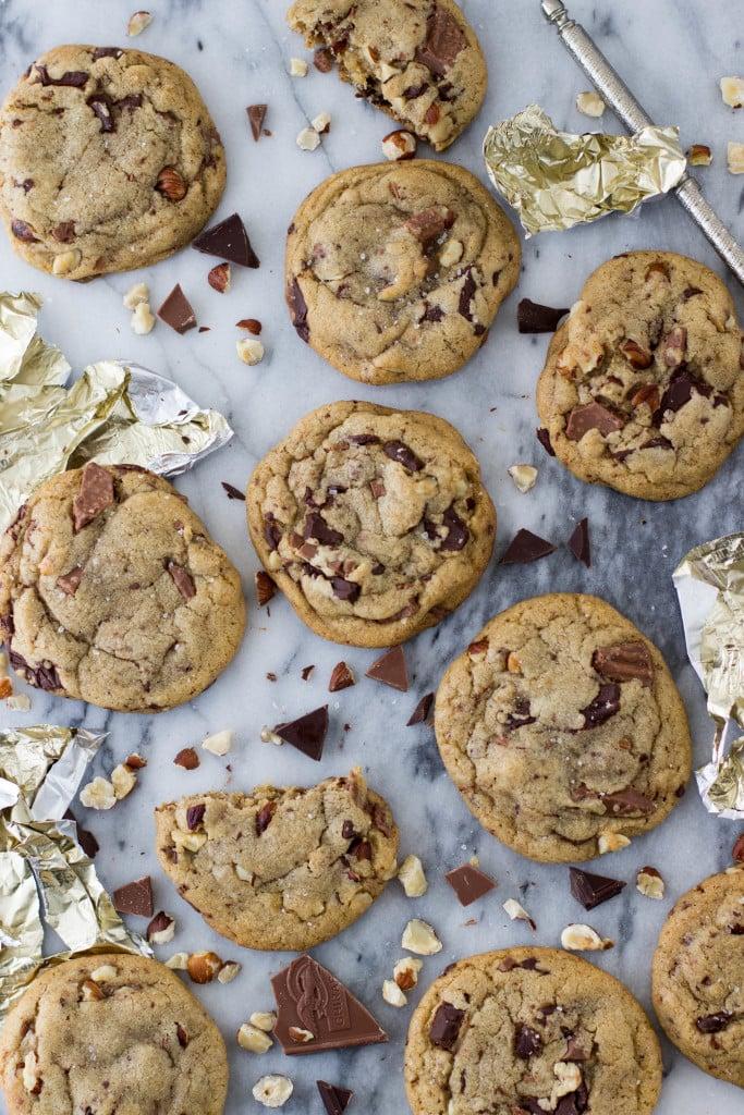 hazelnut chocolate brown butter cookies-7