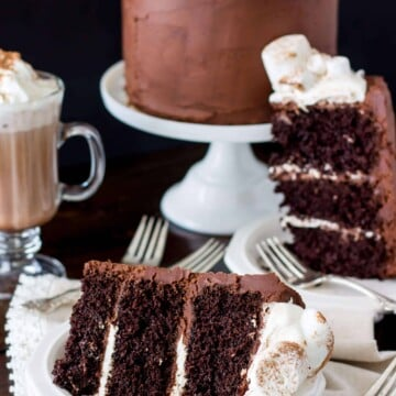 Slices of hot chocolate cake topped with toasted marshmallows, with an entire frosted cake in the background