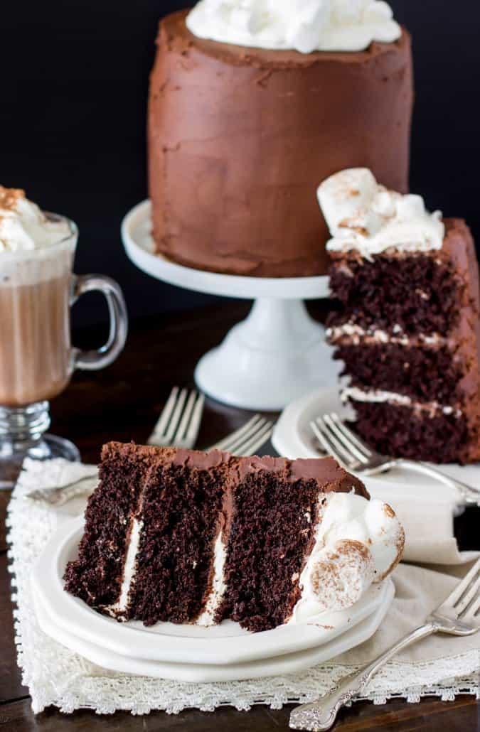 slice of hot chocolate cake on white plate