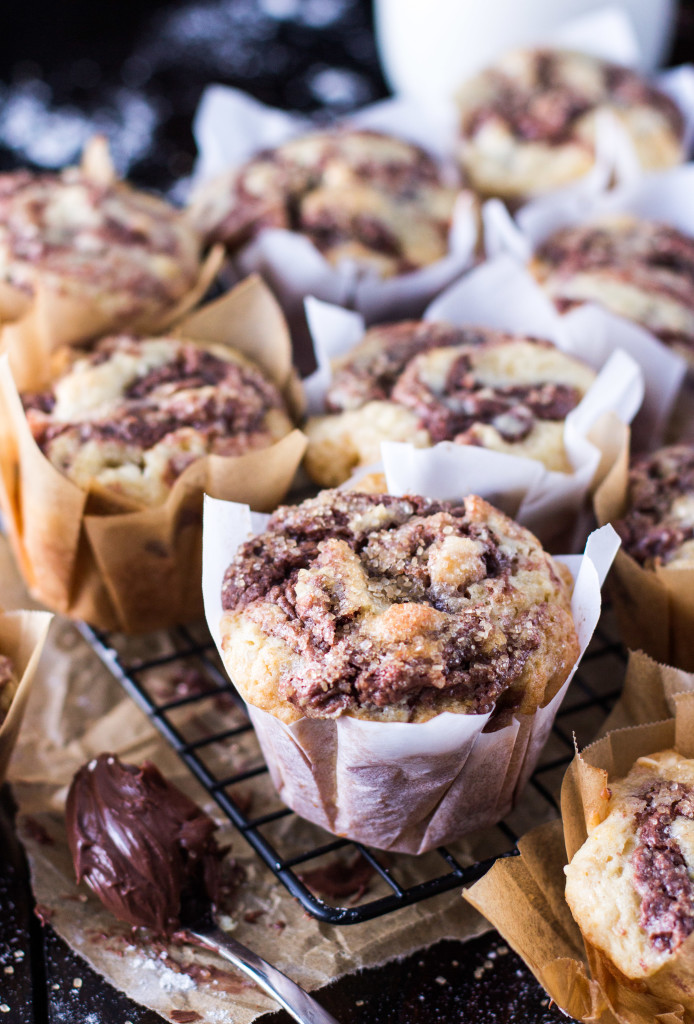 Nutella swirl muffins -- fluffy delicious muffins with white chocolate chips -- SugarSpunRun