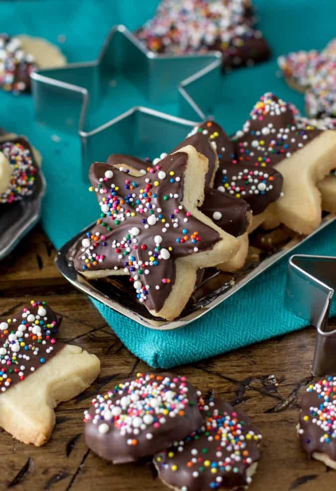 Chocolate Covered Sprinkle Cookies