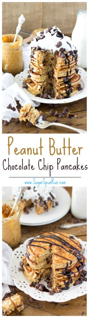 Peanut butter chocolate chip pancakes -- SugarSpunRun.com