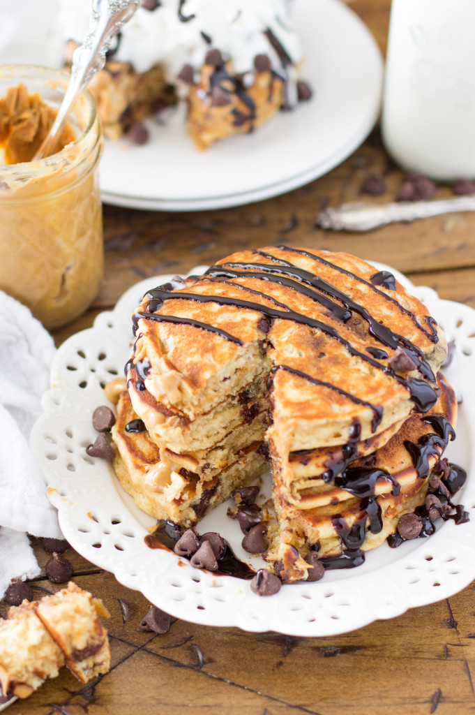 Easy peanut butter chocolate chip pancakes -- SugarSpunRun