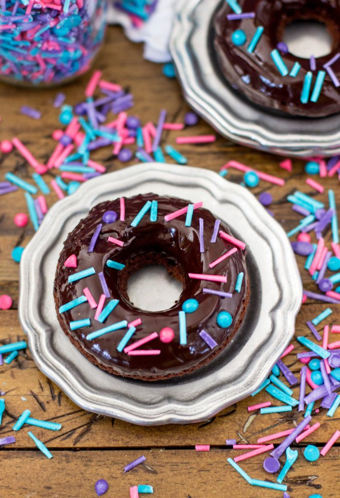homemade sprinkles on chocolate donut