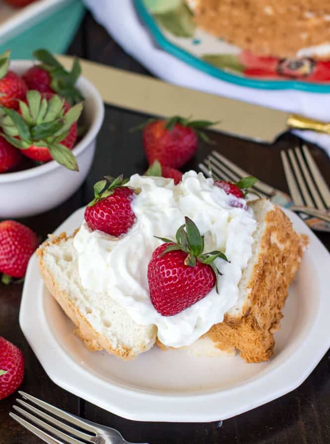 Angel Food Cake With Strawberries In The Batter
