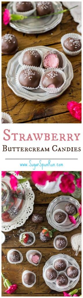Strawberry Buttercream Candies made with fresh strawberries -- www.SugarSpunRun.com