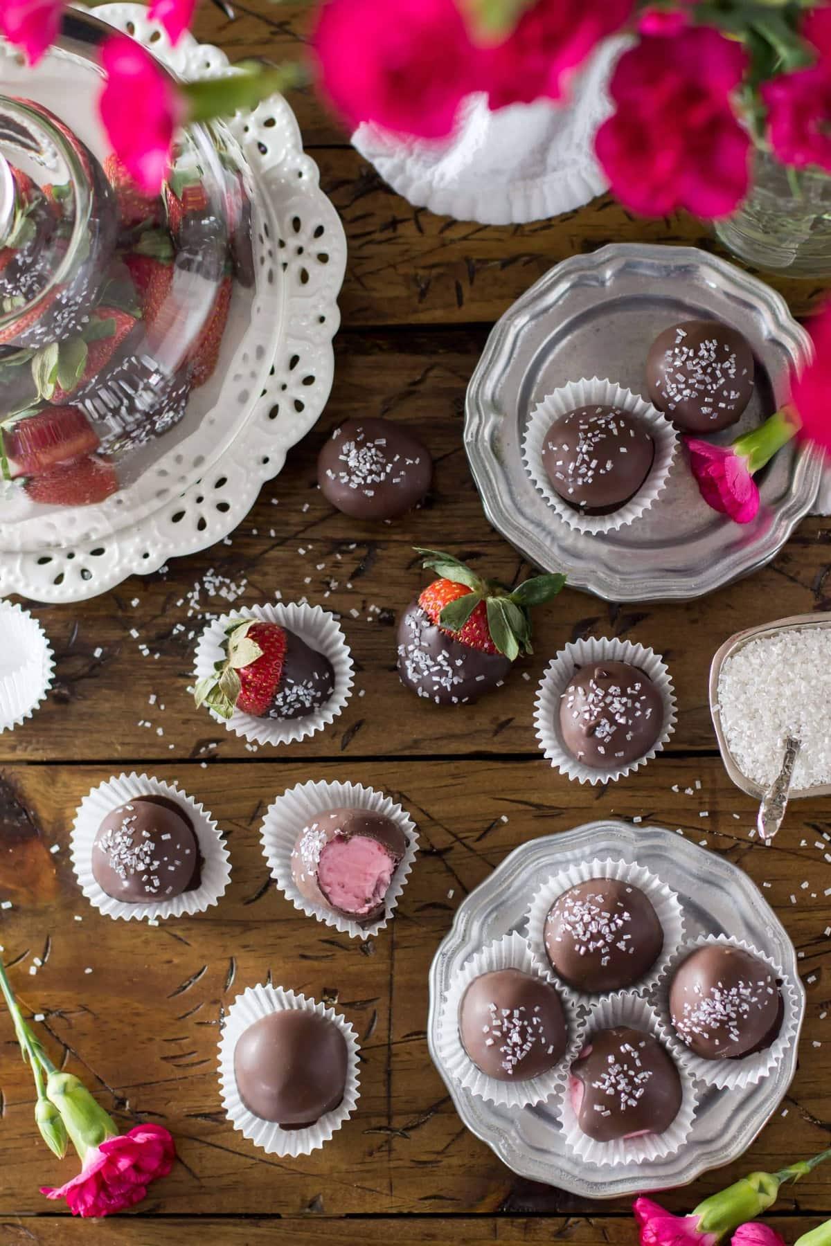 Chocolate Covered Strawberry Buttercream Candies - Sugar Spun Run