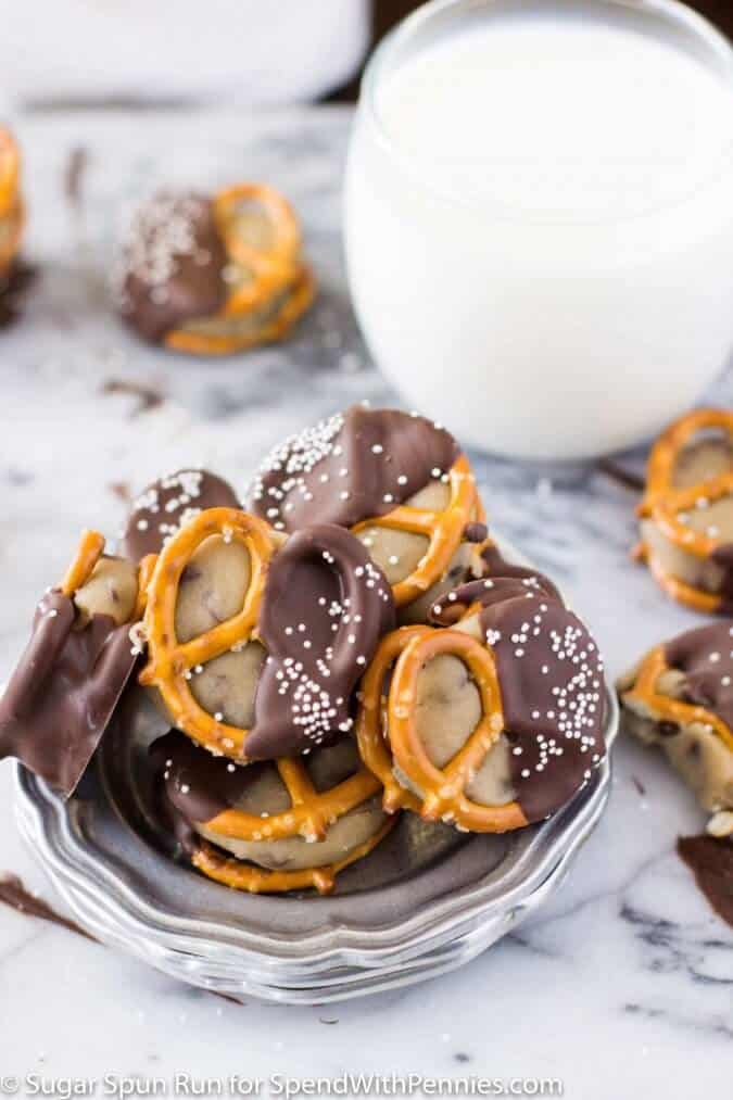 Chocolate Covered Pretzel Bites Stuffed with Cookie Dough