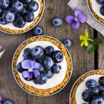 Overhead of blueberry lemon tart