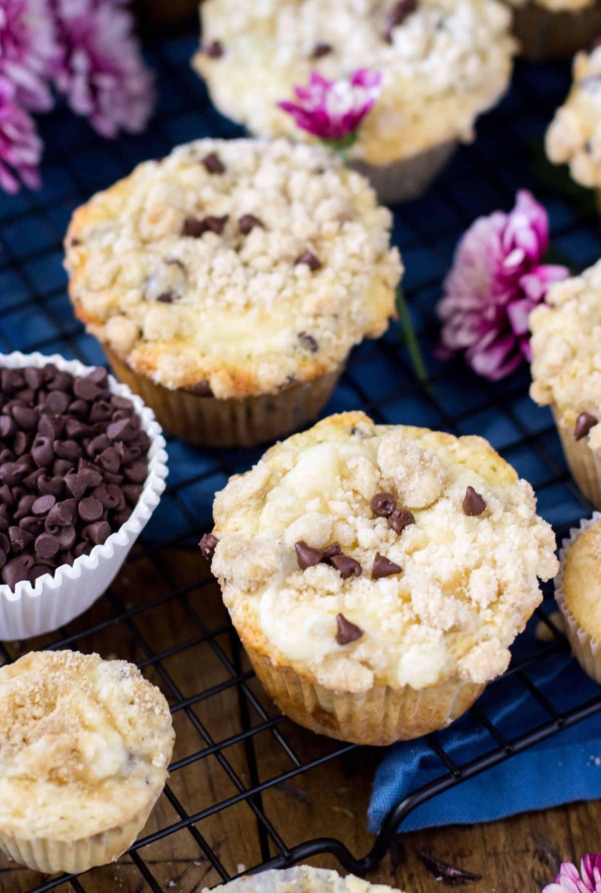 Chocolate Chip Cream Cheese Muffins - Sugar Spun Run