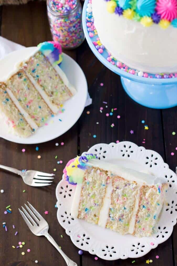 Colorful slice of funfetti cake made from scratch || Sugar Spun Run