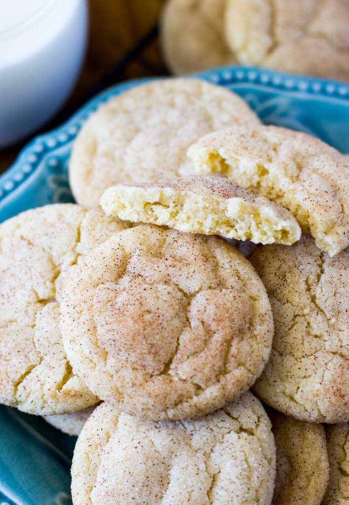 Soft, chewy, classic Snickerdoodle cookies that all but melt in your mouth.