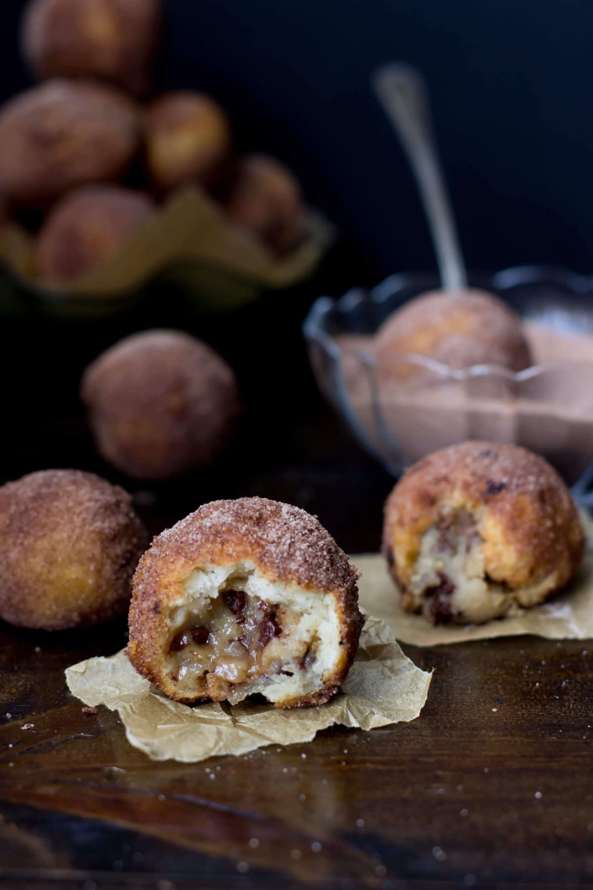 Cookie Dough Stuffed Donut Holes - Sugar Spun Run