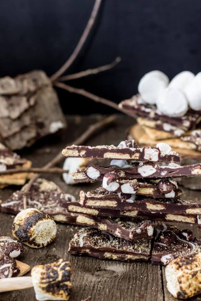 dark chocolate s mores bark