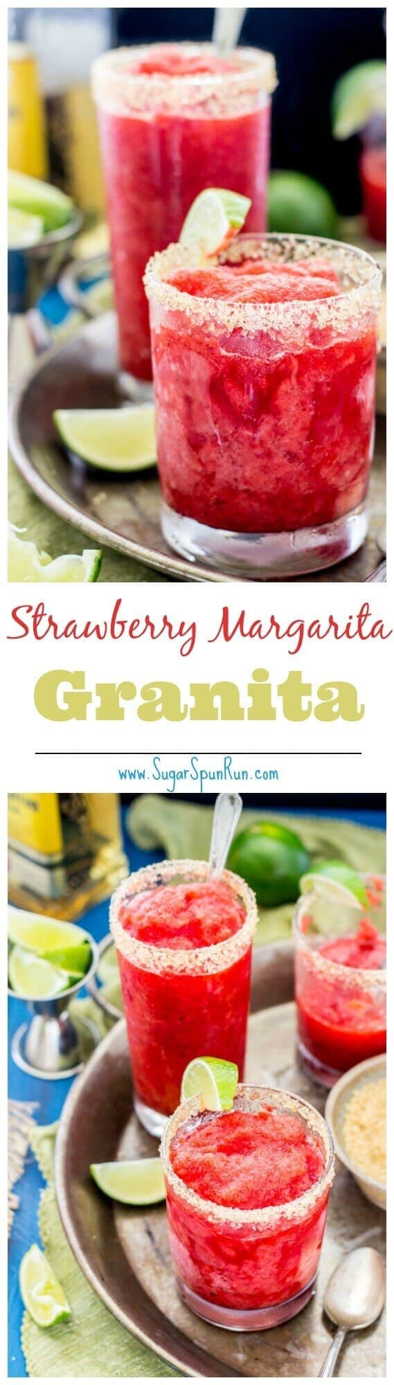 Strawberry Margarita Granita - Sugar Spun Run