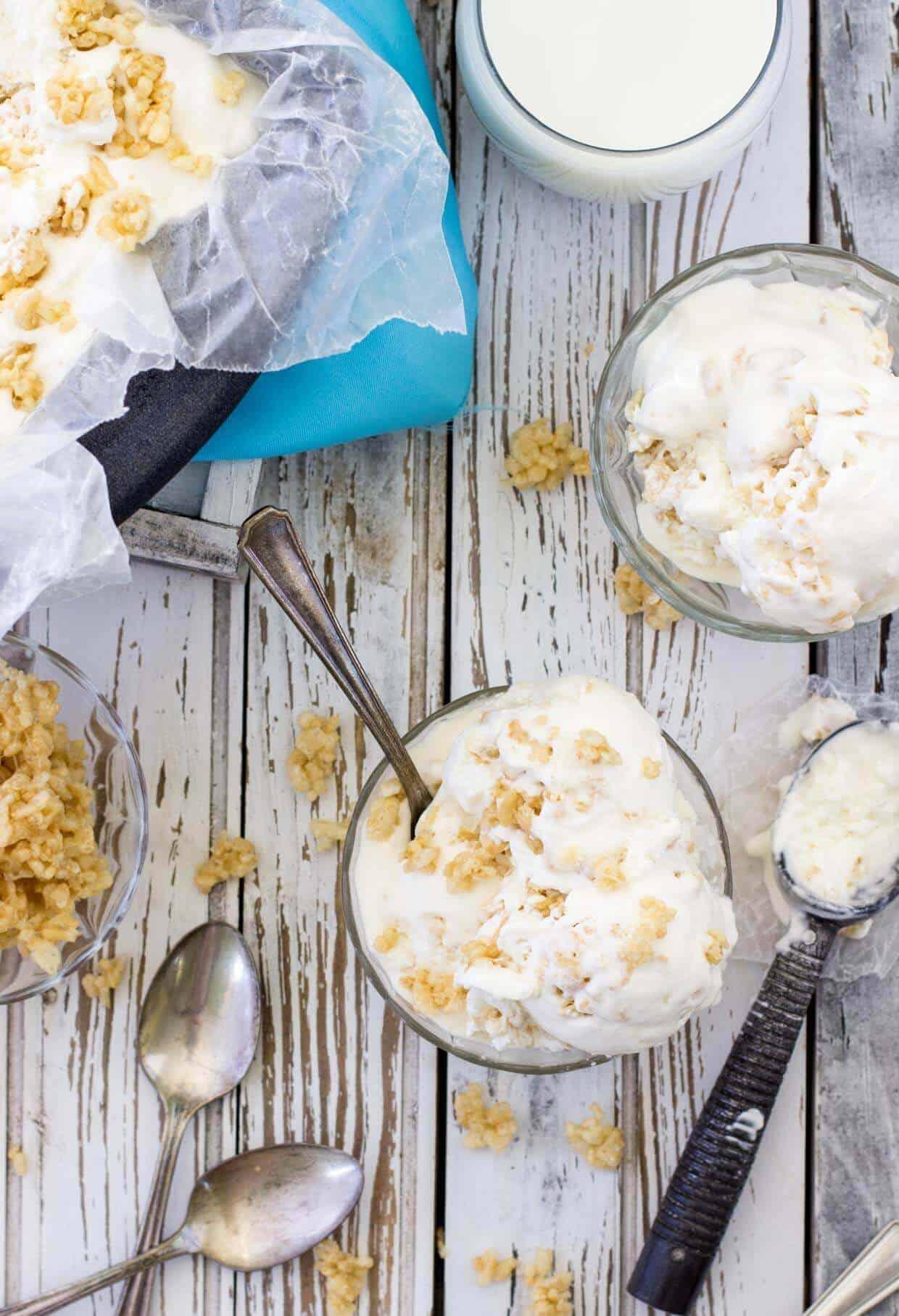 Rice Krispie Treat Ice Cream -- SugarSpunRun