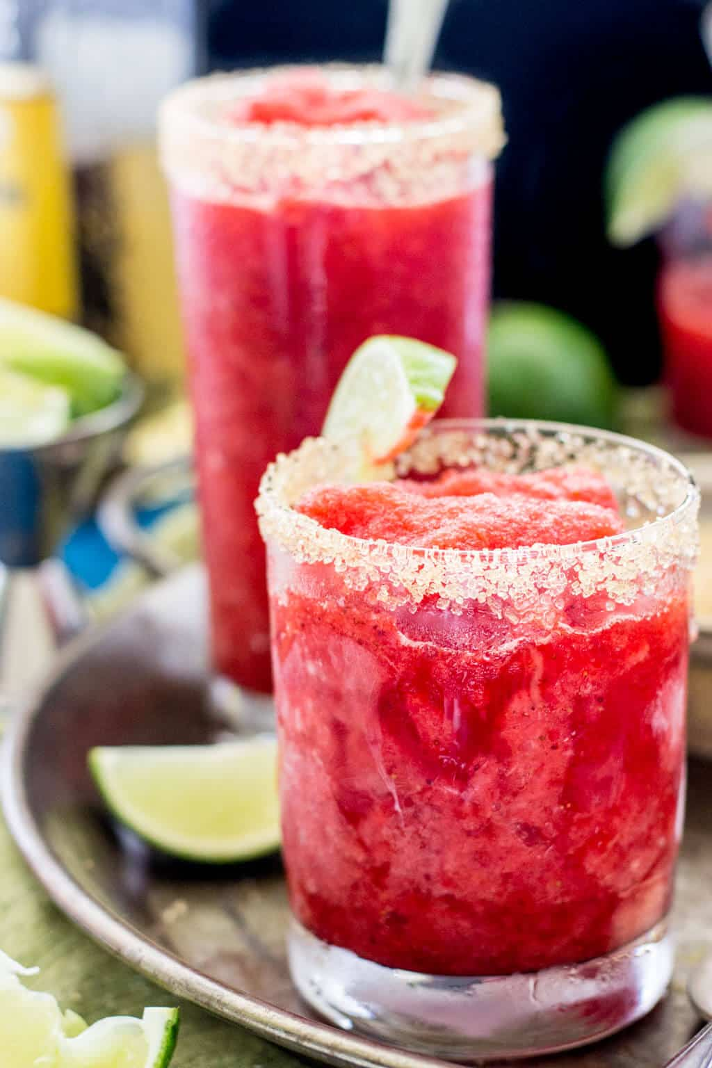 Strawberry margarita granitas! They're like Margarita slushies -- so good!