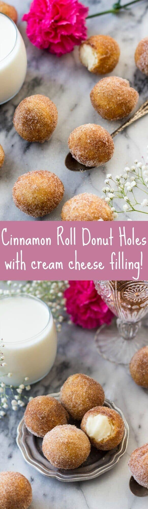 Inside out cinnamon roll donut holes - with cream cheese filling!