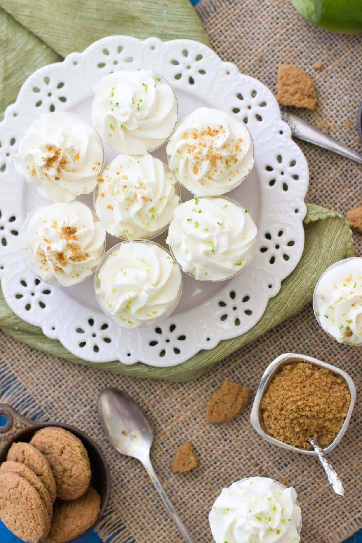 Key lime pie dessert shooters with gingersnap crust