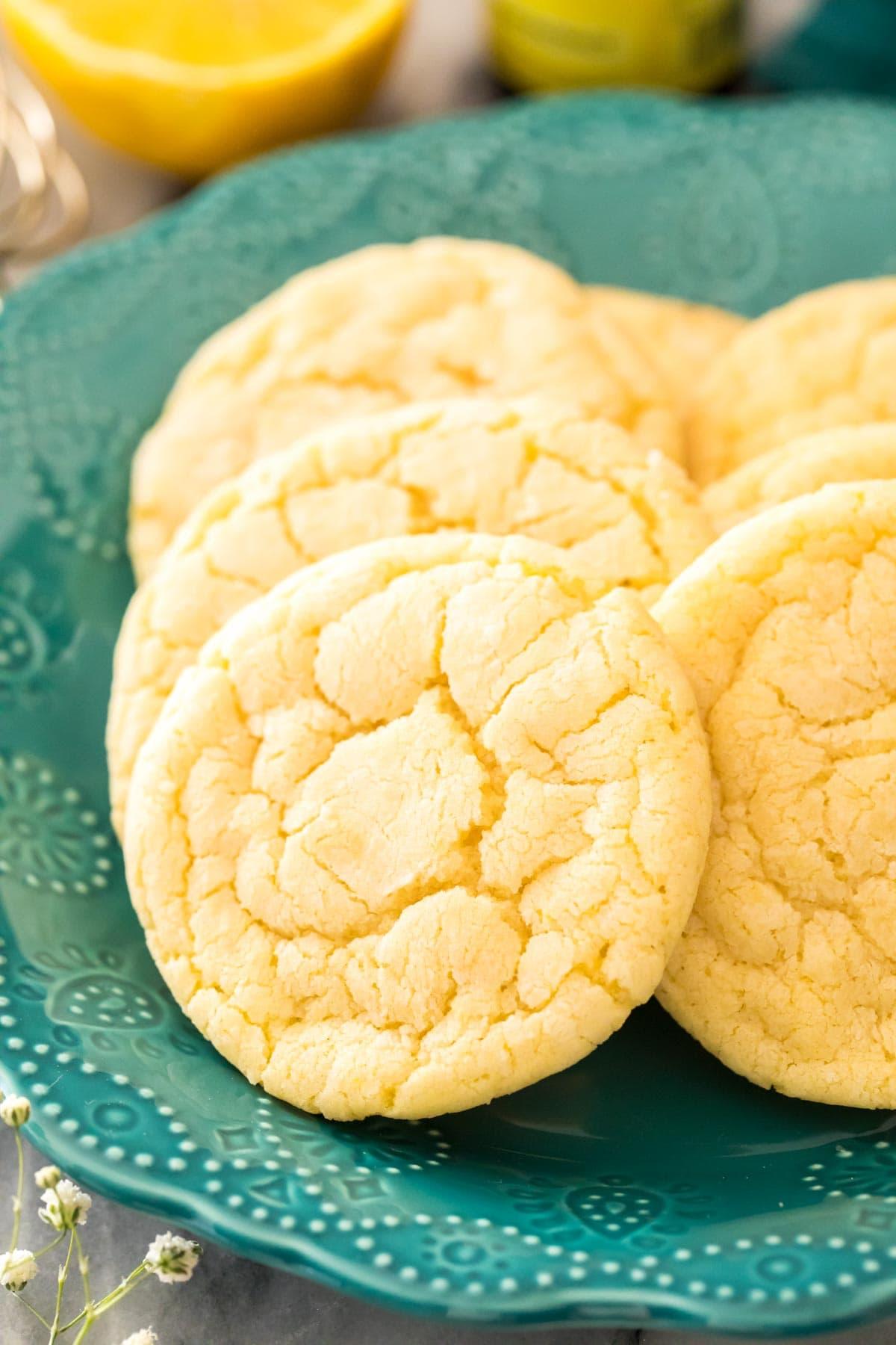 lemon cookies on green plate
