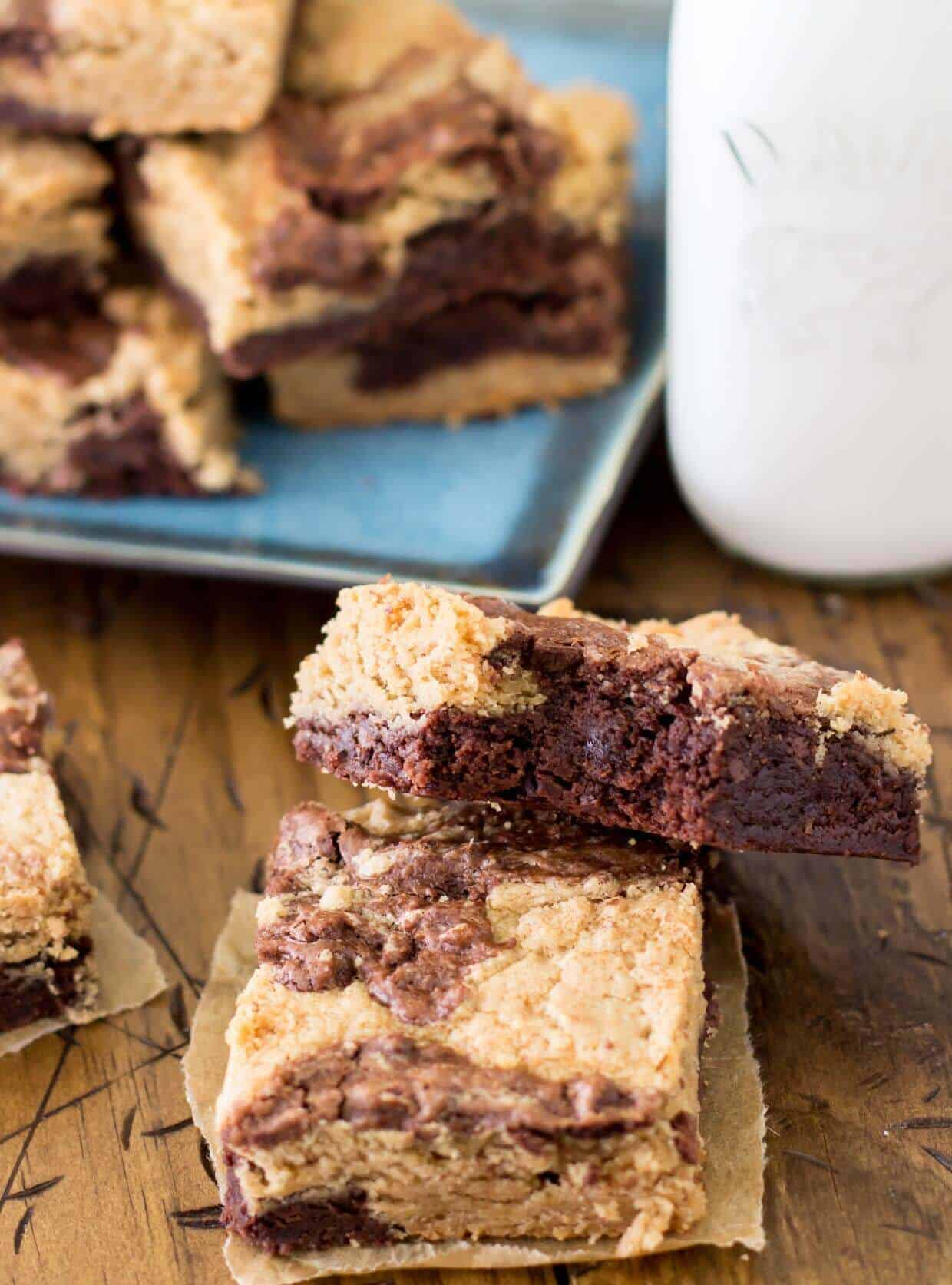 Peanut Butter Brownies -- Sugar Spun Run