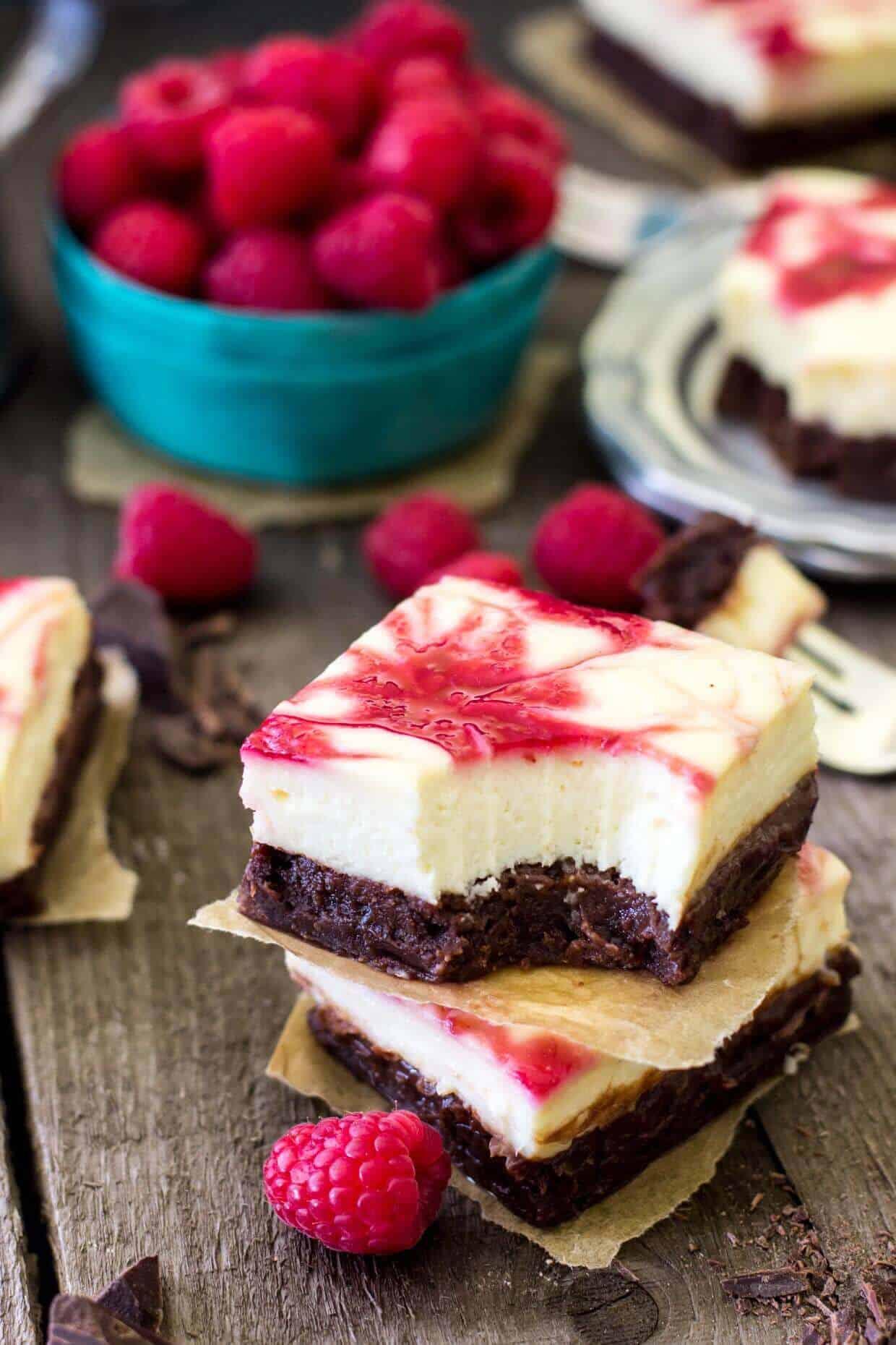 Raspberry Cheesecake Brownies -- SugarSpunRun