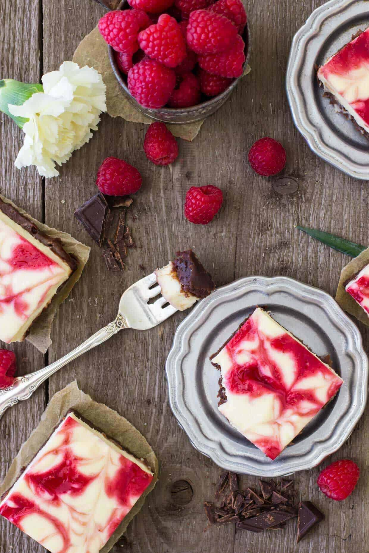 Raspberry Cheesecake Brownies -- SugarSpunRun
