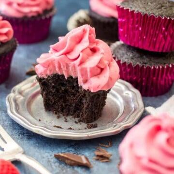 Dark chocolate cupcake with raspberry frosting
