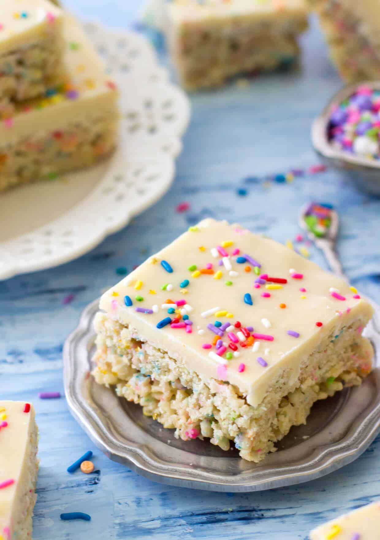 Cake Batter Rice Krispie Treats -- via SugarSpunRun