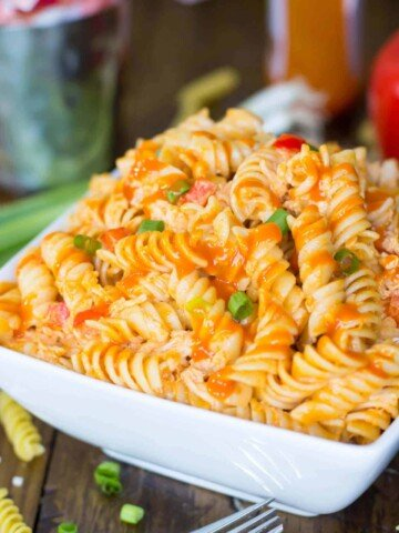 Buffalo chicken style pasta salad in a white bowl