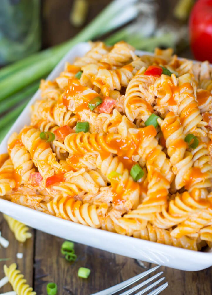 Buffalo Chicken Style Pasta Salad -- this was a huge hit at our party!