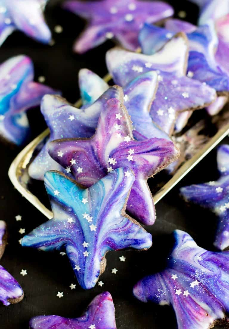 Galaxy Cookies -- these cookies are BEAUTIFUL and way easier to make than you'd think!!