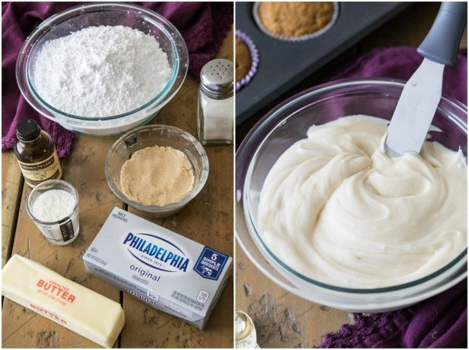 2 images (Left) ingredients (Right) Frosting in mixing bowl