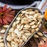 Pumpkin seeds in scoop