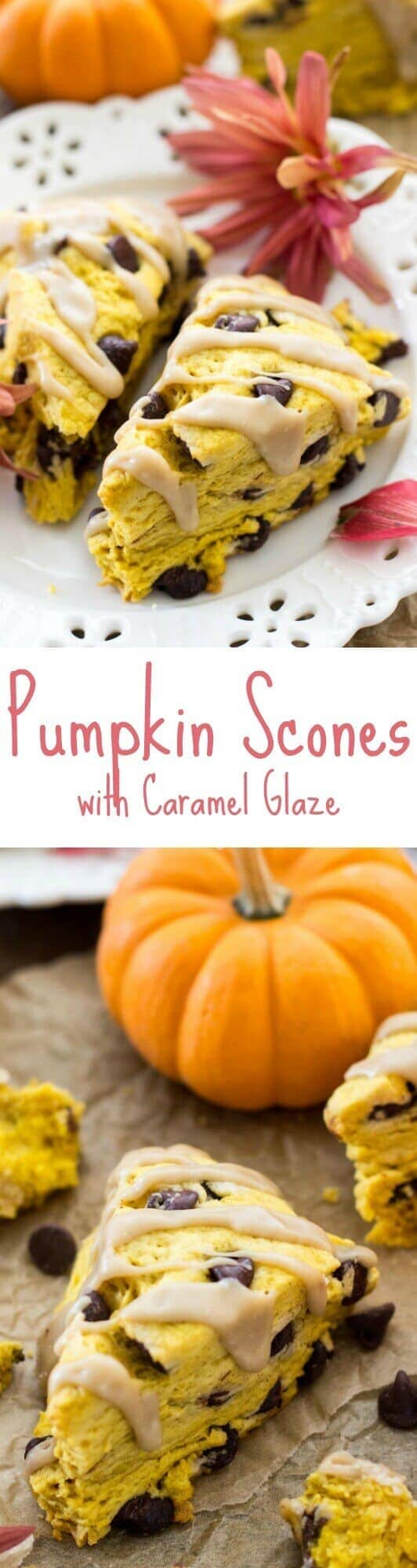 Pumpkin Scones with Caramel Glaze