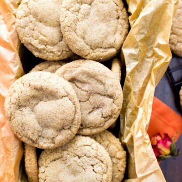 Pumpkin spice cookies piled in to a tray