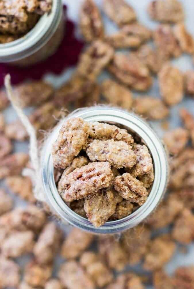 Candied Pecans -- these are so easy to make! And it was WAY cheaper to make them myself than to buy them!