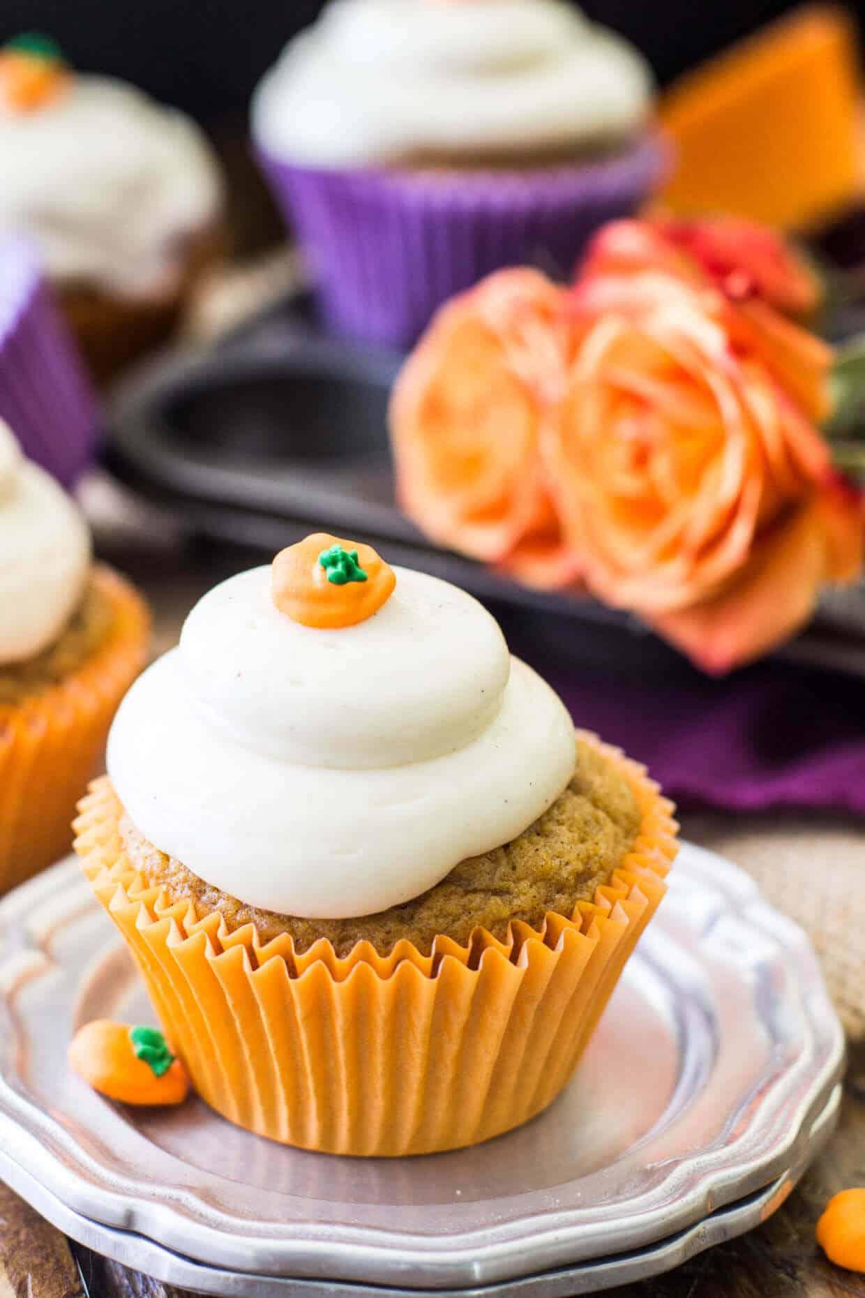 Pumpkin Cupcakes Pumpkin Cupcakes With Brown Sugar Cream Cheese Frosting  Sugar