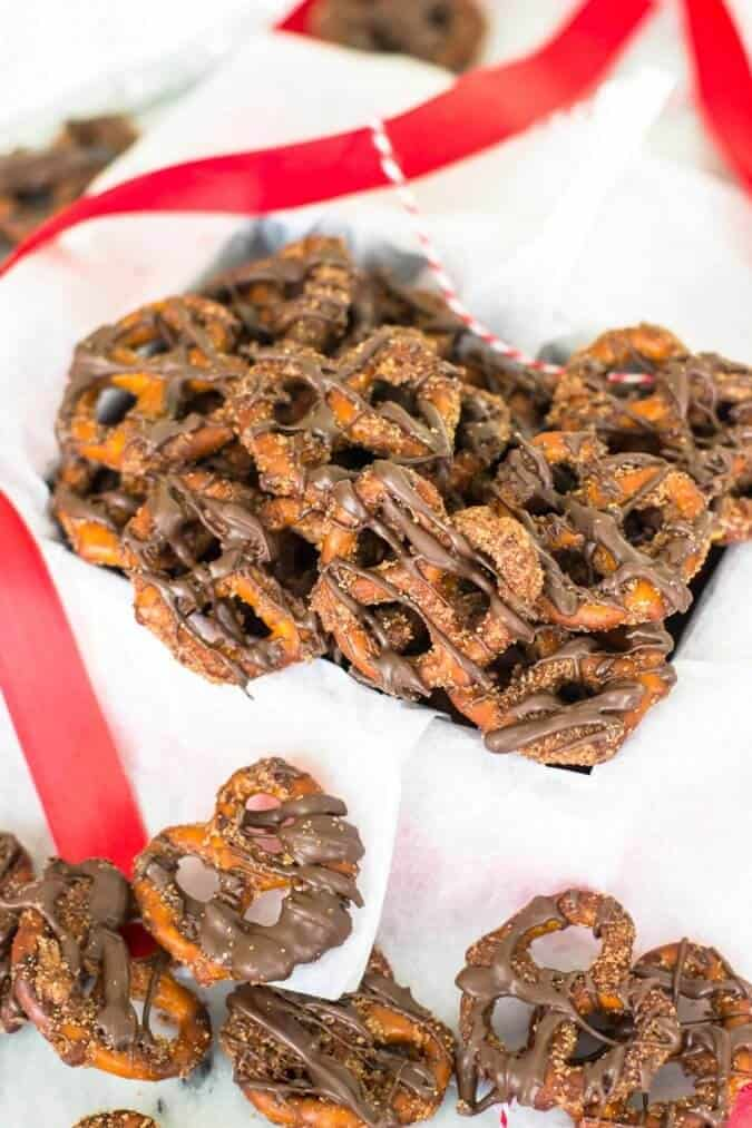 Candied Pretzels - These are so good, chocolate covered and coated in chocolate sugar - I'll definitely be giving these out as Christmas gifts!