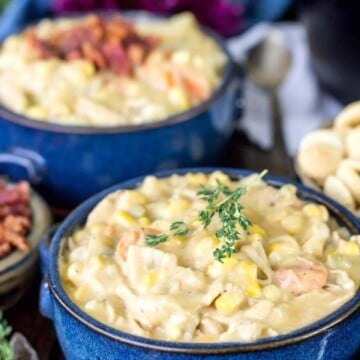 Two bowls of turkey chowder