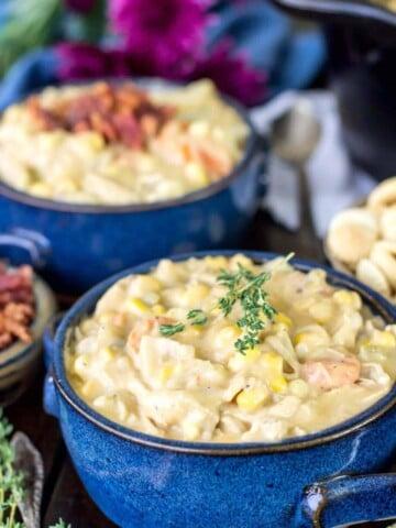 Two bowls of turkey chowder