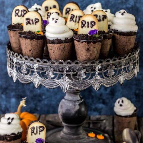 Ghosts in the graveyard dessert shooters arranged on a cake stand