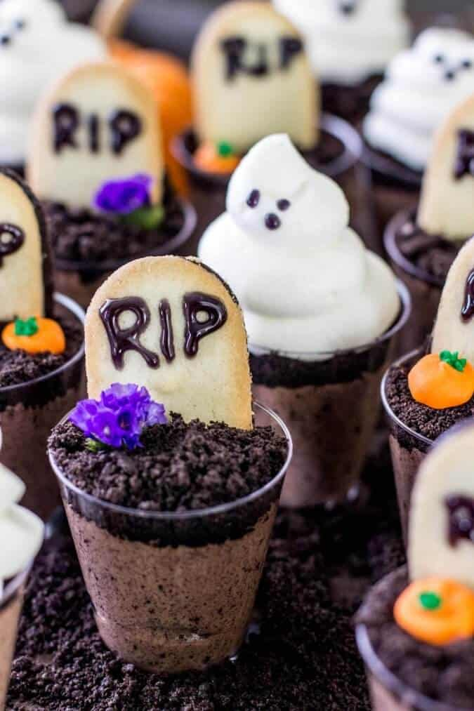 Ghosts in the Graveyard Halloween Dessert Shooters